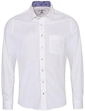 Almsach Trachtenhemd Gabriel Slim Fit Zweifarbig in Weiß und Blau Inklusive Volksfestfinder
