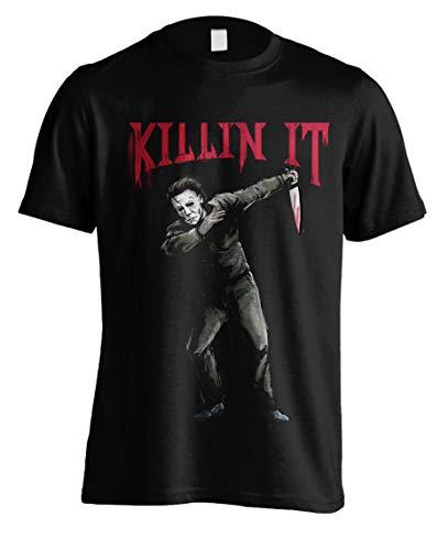 Halloween Michael Myers Knife Pose offiziell Männer T-Shirt Herren (X-Large)