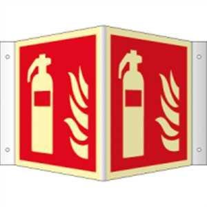Schild Feuerlöscher gemäß ASR A1.3 / DIN 7010 langnachleuchtend PVC 148 x 148 mm (Brandschutzzeichen, Winkelschild, Nasenschild) wetterfest