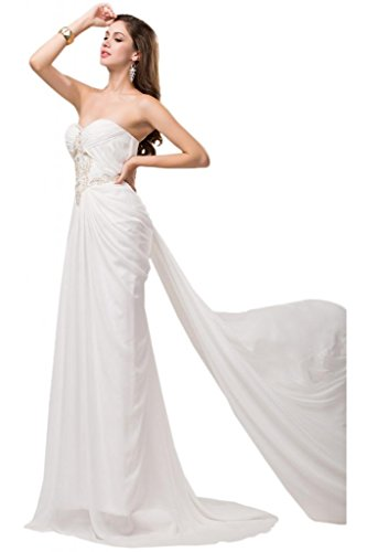 Sunvary Sweetheart Chiffon ricamo discendente abiti Pageant Gowns White