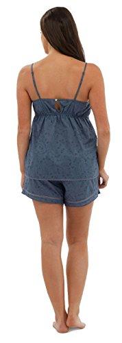 Femmes En Coton Cami & Ensemble Short / Set Pyjama / Vêtement de loisirs ~ 8 UK - 18 Bleu