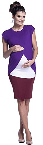 Zeta Ville - Maternité top de grossesse d'allaitement cache-coeur - femme - 448c Pourpre