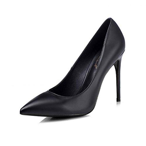 YIXINY Escarpin M-004 Chaussures Femme PU + Caoutchouc Pointu La Bouche Peu Profonde Amende Talon Mariage Occupation Chargé 8.5 / 10cm Talons Hauts Noir
