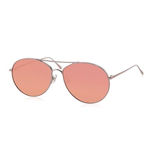 Komny Brille der Frau Tide Farbige Sonnenbrille Damen Farbe transparent Retro gelb rosa Sonnenbrille einen silbernen Rahmen [Rose Gold Objektiv]