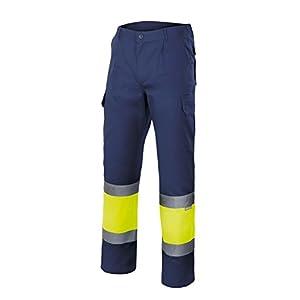 Velilla 156/C60/T3XL Pantalón de alta visibilidad, Azul marino y amarillo fluorescente, XXXL