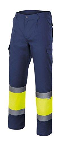 velilla-157-pantalon-haute-visibilite-taille-l-couleur-bleu-fonce-et-jaune-fluor