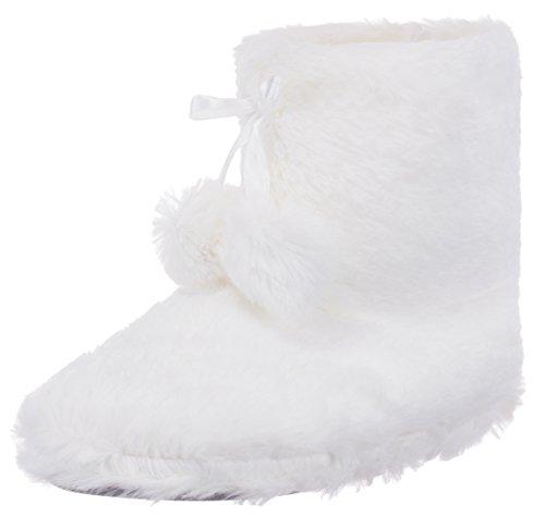 brandsseller Damen Hausschuhe Hüttenstiefel Flausch Gefüttert mit Bommel und Rutschfester Sohle Creme - Weiß Stiefel Flauschige
