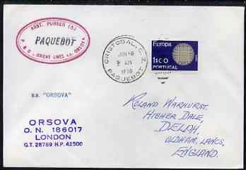 Portugal used in Cristobal (Canal Zone) 1970 Paquebot cover to England carried on SS Orsova with various paquebot and ships cachets PAQUEBOT JandRStamps -