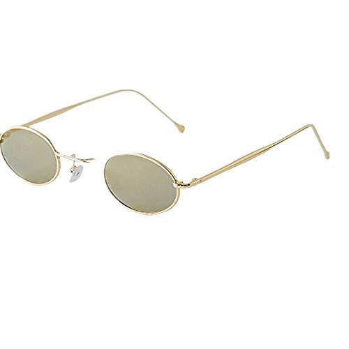 XMoments Mode herren retro kleine ovale sonnenbrille oval shades integrierte uv-brille für damen metallrahmen brillen metall rand rahmen frau sonnebrille gespiegelte linse women sunglasses