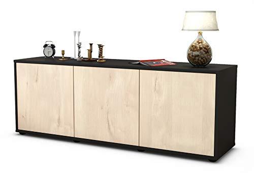 Stil.Zeit Möbel TV Schrank Lowboard Allegra, Korpus in anthrazit matt/Front im Holz Design Zeder (135x49x35cm), mit Push to Open Technik, Made in Germany