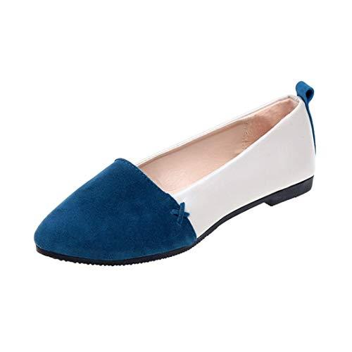 LOSOMI Women's Flats Slip on Geschlossene runde Kappe Weiches Wildleder Bequeme, leichte, lässige Ballettschuhe -