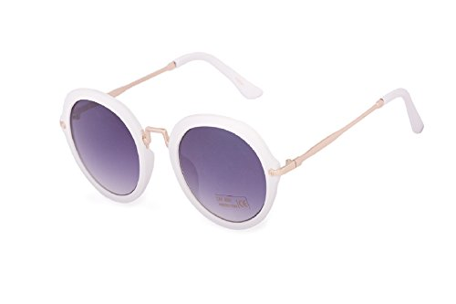 Romens Ltd Damen Sonnenbrille Runden Spiegelglas Cat Eyes Style Sunglasses Brille UV400 (Round White)
