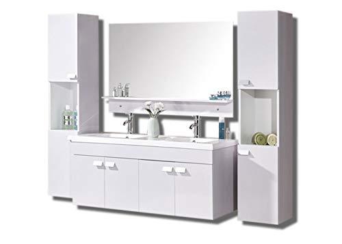 Mobile bagno arredo bagno completo modello white elegance 120 cm lavabo 2 rubinetti