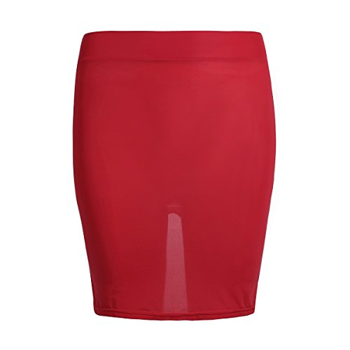 FEESHOW Damen Transparent Mini Rock Schlitz Hinten Bodycon Rock Dessous Nachtwäsche Clubwear Rot One Size (Rock Nacht Nachtwäsche)