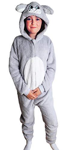 Kinder Jungen Mädchen Strampelanzug Schlafoveralls Tier Overall flauschig Fleece Jumpsuits Mops Teddybär Affe Dalmatiner Schaf Gorilla - Alter 2-13 Jahre, 3-4 Weiches Graues - Flauschige Schaf Kostüm