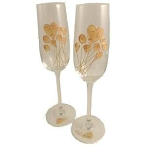 1° Carta Di Matrimonio Anniversario Paio di Calici Per Champagne Fiore