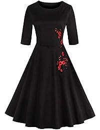 Vestido De Coctel Swing Bordado Vintage Floral Vestido Clásico De Mujer