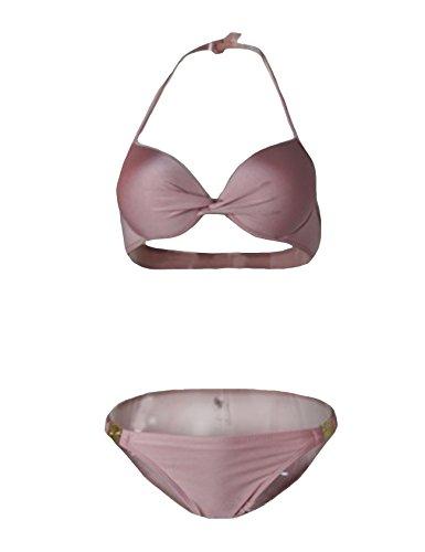 Logou Damen Strand Push-Up Triangel Bikini-Set Pink M