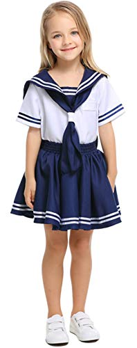 Matrose Kostüm Mädchen Marine - MOMBEBE COSLAND Mädchen Matrose Kostüm Kleid (Marine, M)