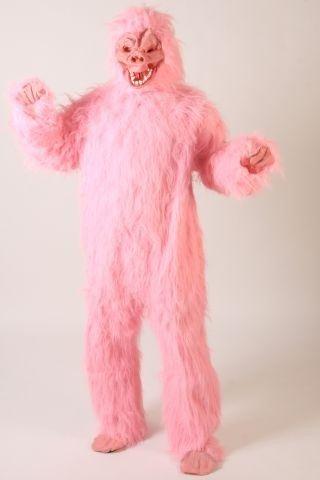Foxxeo 10267 | Gorillakostüm pinkes Kostüm Gorilla Tierkostüm Tier pink Affenkostüm King pinker Affe Affen Gorillas Kong Gr. M - L, Größe:L