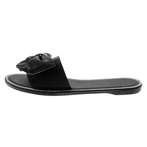 Angkorly Chaussure Mode Sandale Mule Slip-On Femme Strass Diamant Noeud Papillon Talon Bloc 1 CM Noir
