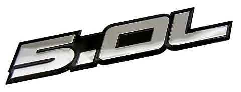 5.0L Emblem in SILVER on BLACK Highly Polished Aluminum Silver