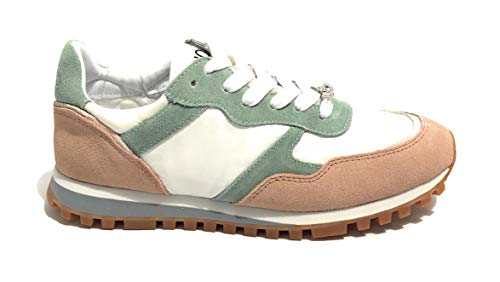 Scarpe sneaker running liu-jo mod alexa in tessuto bianco suede green/beige donna ds19lj05