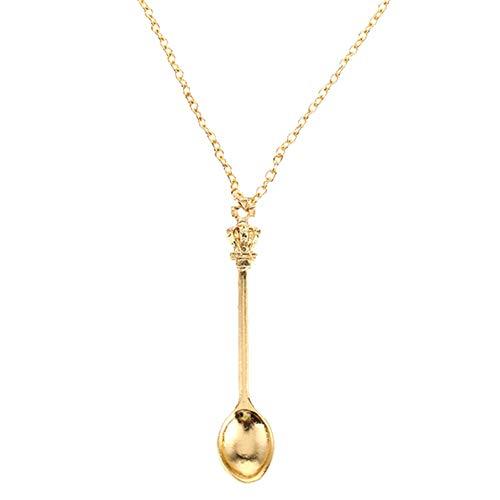 Halskette Mini Löffel Hängende Halskette Weinlese-Kleine Krone Löffel Halskette Für Damen Geschenk-Halskette ()