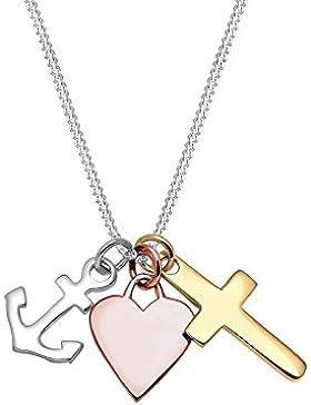 Elli Damen Echtschmuck Halskette Silberkette Kette mit Anhänger Tri color Anker Herz Kreuz Sterling Silber 925