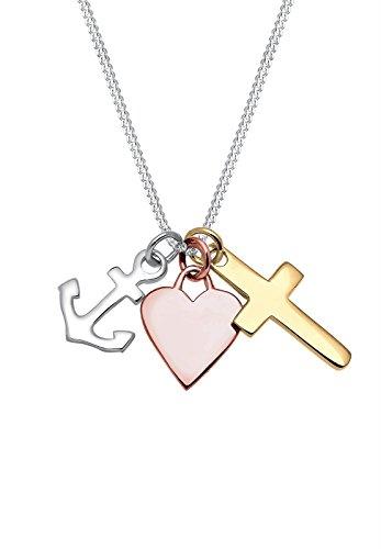 ck Halskette Silberkette Kette mit Anhänger Tri color Anker Herz Kreuz Sterling Silber 925 (Glaube Kreuz)