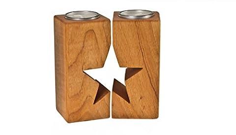 Teelicht Paar - Holz Stern - Sterngeschenk für verliebte Paare