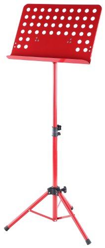 Classic Cantabile Metall Orchesterpult Rot (Lochpult Notenständer, Höhe 58 bis 100 cm einstellbar, Maße der Ablage: 50,0 x 34,8 x 4,5 cm)