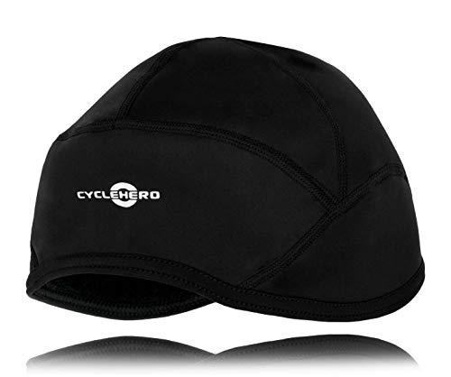 CYCLEHERO Winddichte Radmütze (Größe XXL) Wasserdichte Mütze für Fahrrad aus Softshell-Material mit extra Polar-Fleece-Ohrenschutz - Mütze für unter dem Helm für Herren und Damen