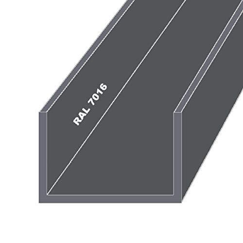 Aluminium U-Profil Schiene Anthrazit RAL7016FS 20x40x20x2mm 500mm Anthrazit RAL7016