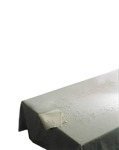 Zenoni & Pigeons Nappe Clara mélange Lin brodé à la Main Made in Italy 170 x 270 cm Ovale avec 12 Serviettes