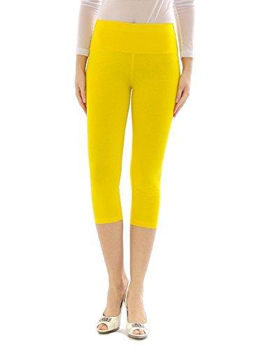 Damen Capri 3/4 Leggings Leggins Baumwolle Hose Wäsche hoher Bund gelb M