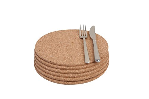 T&G FSC Certified Cork Round Table Mats/Surface Protectors, Set of 6, 22 x 0.6 cm