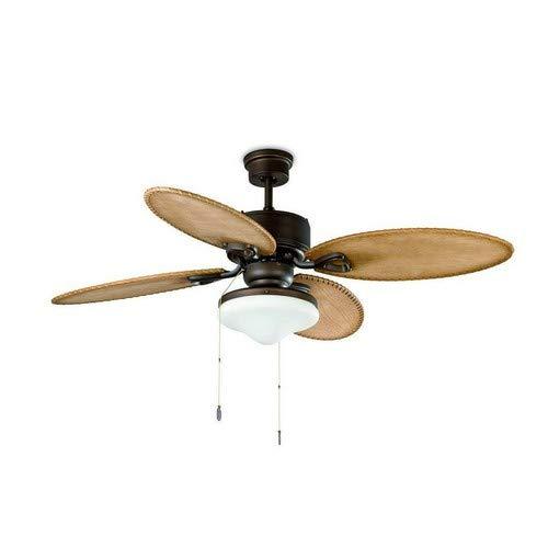 Faro Barcelona 33019 - LOMBOK Ventilador de techo con luz, 60W, acero, palas de madera mdf y difusor...