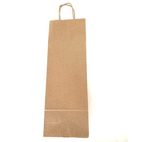 Un juego de 20 bolsas kraft para botellas de vino o champán.  Disponible en negro, marrón o rojo.  Ideal para botellas de hasta 1.5L Una bolsa ideal para ofrecer una botella a un amigo, familiar o cualquier otra persona.  Tallas: 14x8x40 cm.  En paqu...