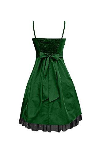 Black Butterfly Robe De Bal Satin Essence 'Sia' Vert Foncé