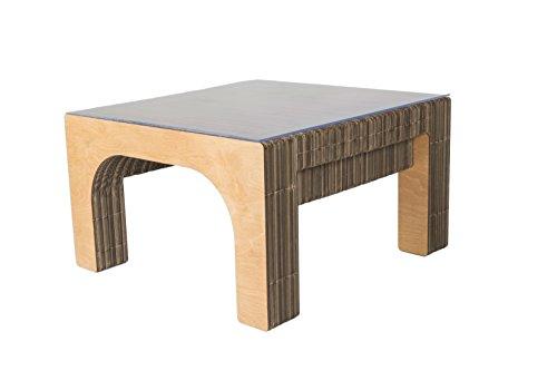 Tavolo Basso SEKKEI Sustainable Design in Cartone, mod. Stockholm, Top in Plexi, Finitura laterale in legno di Betulla naturale satinato