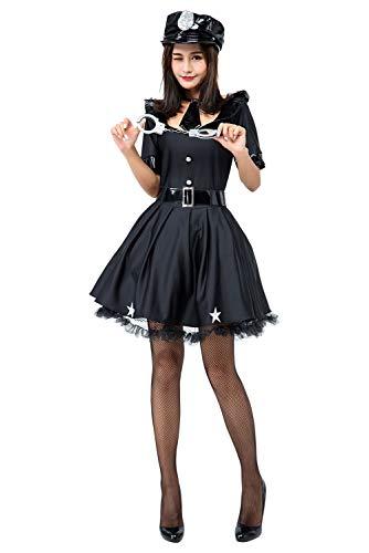 Damen Sexy Polizei Kostüm 5 Pcs Polizistin Uniform Polizistin Frauen Clubwear Nachtclub Schwarz Kleid für Cosplay Karneval Halloween Fasching Party Inkl. Handschellen (Pc Polizei Kostüm)