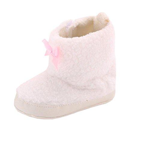 Ouneed® Sapatos Rastejando, Bebê Infantil Criança Suaves Únicos Botas Bowknot Neve Berço Sapatos Brancos