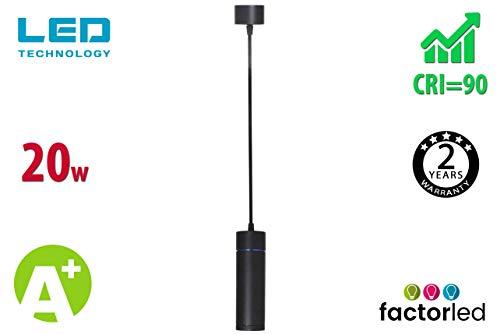 FactorLED Lámpara LED 20W Negra 2400Lm, Alta Resistencia, Lámpara Moderna de Techo, Lámpara de Tubo...