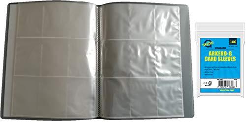 Arkero-G Leere Sammelmappe mit 12 Seiten + 100 Kartenhüllen - 9-Pocket Tauschalbum / Sammelalbum ideal für 216 Karten & Bilder (Fußball-karte Ordner)