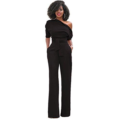 Damen Elegante Jumpsuit Lang Weites Bein Overalls Hoher Taille Spielanzug mit Gurt Halbe Hülse weg von den Schulter, Schwarz S