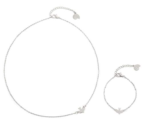 Happiness Boutique Damen Filigranes Schmuckset in Silberfarbe 2-TLG. | Zarte Schwalbe Kette und Armband mit Vogel Anhänger