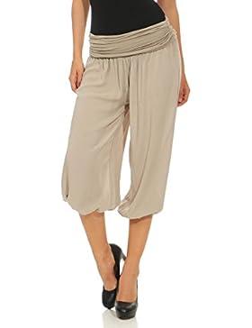 Malito Mujer Pantalón Bombacho Aladino Harem Pantalón Yoga Uni 1483