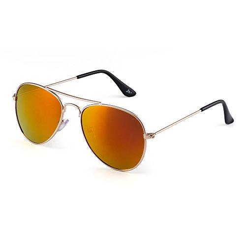 JM Kinder Spiegel Flieger Sonnenbrille Blitz Getönt Kind Brille Gläser Mädchen Jungen Alter 3-12(Gold/Spiegel Rot)