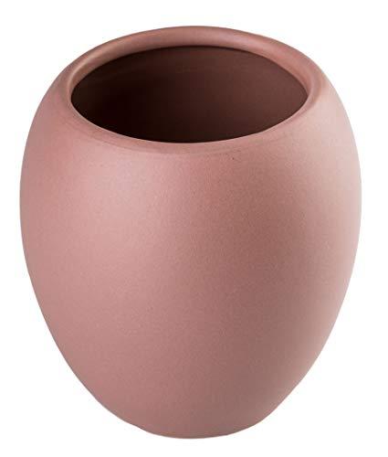 KADAX Badezimmerbecher, Zahnputzbecher aus Keramik, Badezimmer Cup 425ml, Zahnbürstenhalter für Zahnbürste und Zahnpasta, Wasser Cup ⌀ 7 cm, 9,5 x 10,5 cm, mattiert, Serie Wenus (Rosa) - Keramik-9.5